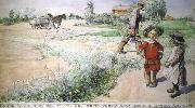 Carl Larsson Boy and girl oil painting reproduction