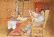 Carl Larsson self-portrait in the Studio oil painting reproduction