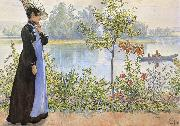 Carl Larsson Late Summer Karin by the Shore oil painting reproduction