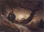 Caspar David Friedrich Two Men Looking at the Moon oil painting reproduction
