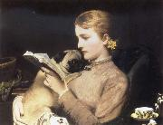 Charles Barber Girl Reading with Pug oil on canvas