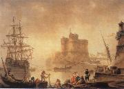 Charles-Francois de la Croix Harbour with a Fortress painting