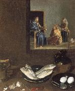 Diego Velazquez Detail of Kitchen Scene with Christ in the House of Martha and Mary oil painting reproduction