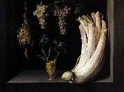 Felipe Ramirez Still Life with Cardoon, Francolin, Grapes and Irises oil