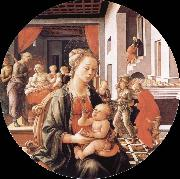 Fra Filippo Lippi Madonna and Son with histories of the life of Holy Ana oil painting reproduction