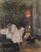 Franz Skarbina Berliner Christmas room oil