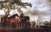 George Stubbs Mares and Foals in a River Landscape oil painting reproduction