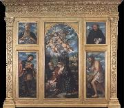 Girolamo Romanino Polyptych of the Nativity,with Saints Alexander,Jerome,Gaudioso and Filippo Benizzi oil