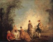 WATTEAU, Antoine An Embarrassing Proposal oil painting reproduction