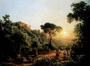 Karoly Marko the Elder Landscape near Tivoli with Vintager Scens oil painting reproduction