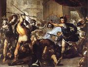 Luca  Giordano Perseus Turning Phineas and his followers to stone oil painting reproduction