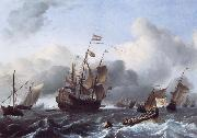 Ludolf Backhuysen The Eendracht and a Fleet of Dutch Men-of-War oil on canvas