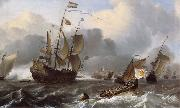 Ludolf Backhuysen Detail of THe Eendracht and a Fleet of Dutch Men-of-War oil on canvas