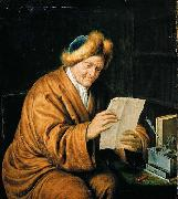 MIERIS, Willem van An Old Man Reading oil on canvas