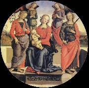 Pietro vannucci called IL perugino The Virgin and the Nino acompanados for two angeles, Holy Rose and Holy Catalina oil on canvas