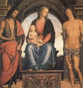 Pietro vannucci called IL perugino The Madonna and the Nino enthroned, with the Holy Juan the Baptist and Sebastian oil on canvas