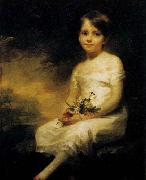 RAEBURN, Sir Henry Young Girl Holding Flowers oil painting artist