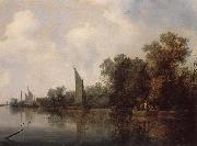 RUYSDAEL, Salomon van A Rievr with Fishermen Drawing a Net oil painting reproduction