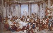 Thomas Couture The Romans of the Decadence oil on canvas