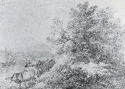 Thomas Gainsborough Ox Cart by the Bands of a Navigable River painting
