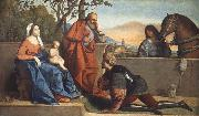 Vincenzo Catena A Muslim Warrior Adoring the Infant Christ and the Virgin oil on canvas