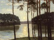Walter Leistikow Evening mood at the battle lake oil on canvas