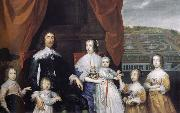 Cornelius Johnson Arthur,1st Baron Capel and his family oil on canvas