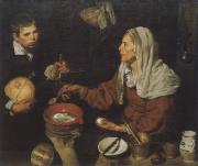 Diego Velazquez Old woman in the eggs roast painting