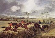 Henry Thomas Alken A Steeplechase, Near the Finish oil painting reproduction