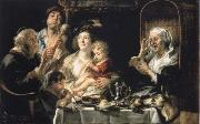 Jacob Jordaens How the old so pipes sang would protect the boys painting