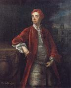 Jonathan Richardson Richard Boyle 3rd Earl of Burlington,with the Bagnio at Chiswick House,Middlesex oil