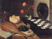 Lubin Baugin Style life with checkerboard oil painting