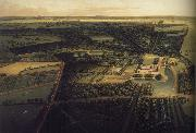 unknow artist one of four bird-s eye panoramas of Dunham Massey Hall painting