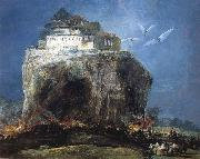 Anonymous City on rock oil painting reproduction