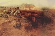 Charles M Russell The Buffalo hunt china oil painting artist