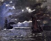 Claude Monet A Seascape,Shipping by Moonlight oil painting reproduction