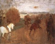 Edgar Degas Horses and Riders on a road painting