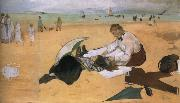Edouard Manet On the beach,Boulogne-sur-Mer painting