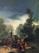 Francisco Goya Highwaymen attacking a  Coach painting