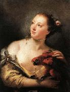 Giovanni Battista Tiepolo Woman with a Parrot oil painting reproduction