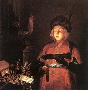 Gobindram Chatera Young Man with a Candle oil on canvas