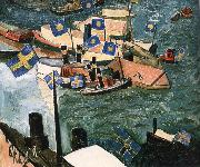 Isaac Grunewald The flag in Port china oil painting artist