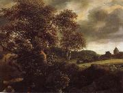 Jacob van Ruisdael Hilly Landscape with a great oak and a Grainfield painting