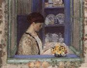 frederick carl frieseke Mis.Frederick in front of the window oil on canvas