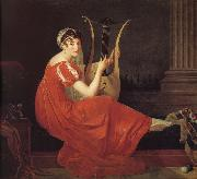 unknow artist Portrait of lady with play harp oil painting reproduction