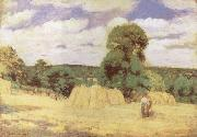 Camille Pissarro Harvest at Monfoucault painting