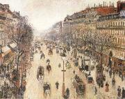 Camille Pissarro The Boulevard Montmartte on a Cloudy Morning oil painting reproduction