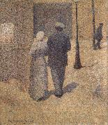 Charles Angrand Man and Woman in the Street oil on canvas