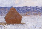 Claude Monet Haystack in the Snow,Overcast Weather painting