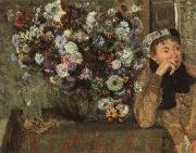 Edgar Degas Woman with Chysanthemums oil painting reproduction